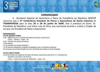 III CONFERÊNCIA DE PESCA E AQUICULTURA DE SANTA CATARINA